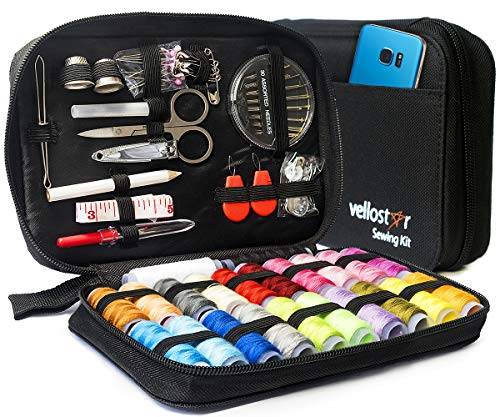 Sewing KIT Premium Repair Set - Over 100 Supplies & 24-Color Threads & Needles | Portable Mini Mending Button Travel Sew Kits, Easy to Use Sowing Accessories for Adults & Beginners, Giftable, Black