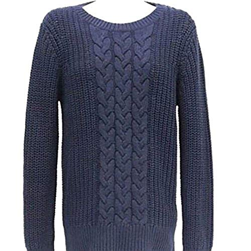(Nautica Women's Single Cable Knit Tunic Sweater (Navy,)