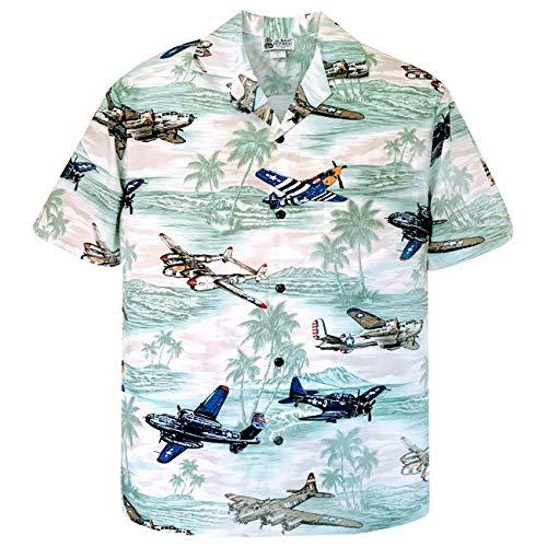 - Large Sage Vintage WWII Fighter Planes Diamond Head Hawaiian Shirt