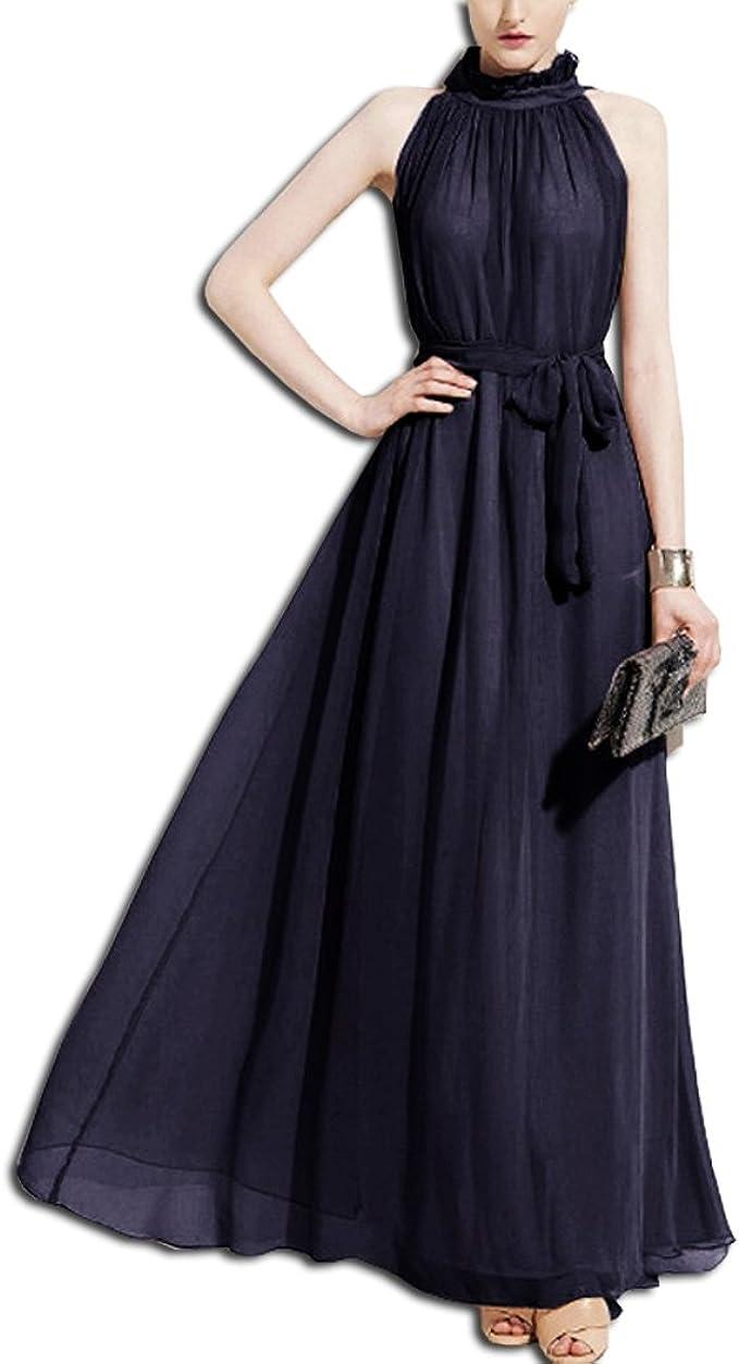 KAXIDY Damen Chiffon High Neck ärmelloses langes Kleid Elegante Cocktail  Party Kleider Maxi Abendkleid Strandkleid
