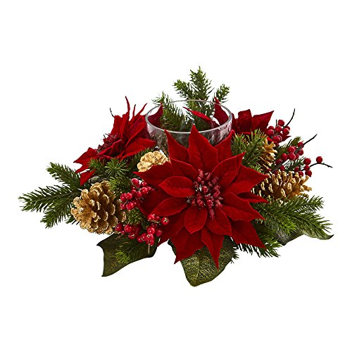 (Nearly Natural 4270 Poinsettia, Berry and Golden Pine Cone Candelabrum Artificial Silk Arrangements, Red)
