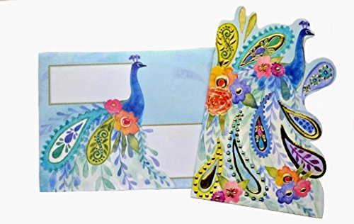Punch Studio Set of 10 Gold Foil Embellished Blank Note Cards ~ Fancy Die-Cut Paisley Peacock 14519