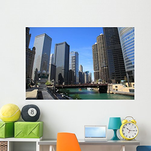 Chicago River and Skyline Wall Mural by Wallmonkeys Peel and Stick Graphic (60 in W x 40 in H) - Tower Water Chicago Place Illinois