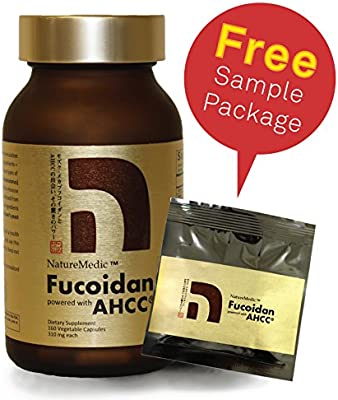 NatureMedic Fucoidan AHCC Brown Seaweed Immunity Supplement with Organic Mekabu Mozuku Agaricus 160 and FREE 12 Capsules 172 Vegetable Capsules Made in Japan