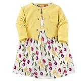 Luvable Friends - Vestido y cárdigan para niña, Tulips, 9-12 Months (12M)