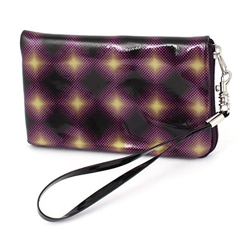 Tri-color Faux Leather Rhombus Print Purse Bag Holder for Mobilephone