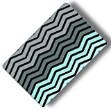 Custom & Decorative {16'' x 10'' Inch} 1 Single, Large ''Gaming'' Flexible Non-Slip Mousepad for Gaming, Made Of Easy-Glide Neoprene w/ Neon Chevron Line Patterns Design [Grey, Black & Teal]