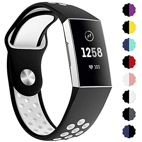 QIBOX Compatible Fitbit Charge 3 Bands, Sports Silicone Replacement Women Men Bands Breathable Soft Strap Bracelet Accessories Compatible Fitbit Charge 3 SE Fitness Activity Tracker Small Large