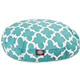 Large White Teal Green Trellis Pattern Dog Bed, Quatrefoil Modern Round Pet Bedding, Bold Fun Print, Features Water, Stain Resistant ,Removable Cover, Comfort Design, Polyester