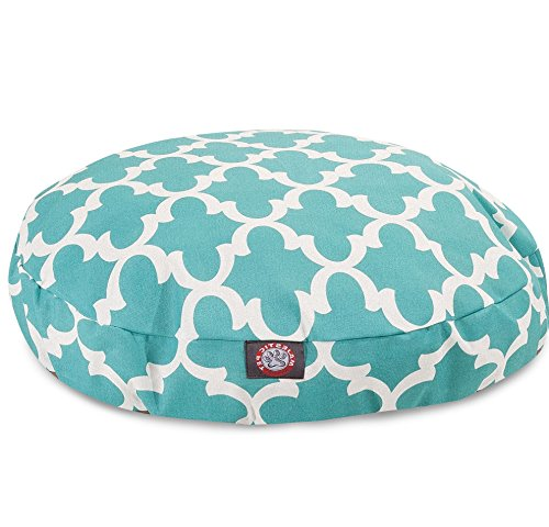 Medium White Teal Green Trellis Pattern Dog Bed, Quatrefoil Modern Round Pet Bedding, Bold Fun Print, Features Water, Stain Resistant ,Removable Cover, Comfort Design, Polyester by N2