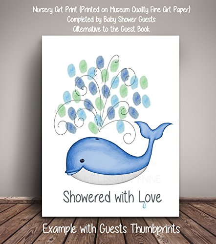 Whale Thumbprint Baby Shower Guest Record, Fine Art Print, Whale Baby Shower (Frame Not Included), Guest Thumbprint Sign ()