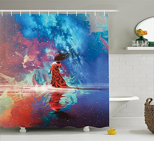 on Hooks Decor Fantasy Long Spiritual Bathroom Earth Galaxy Decor Blue Ambesonne with Fabric Dress Woman 72 Water Shower Set Curtain Inches by House Coral Star Art with under in qRvgwqA
