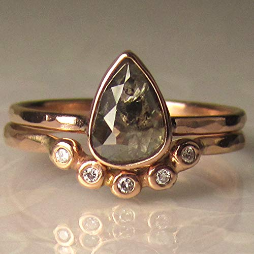 (Salt and Pepper Rose Cut Diamond Engagement Ring in 14k Rose Gold)