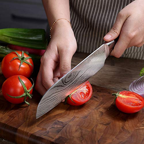 PAUDIN Classic 7 inch Hollow Ground Santoku Knife, German High Carbon Stainless Steel Kitchen Knife by PAUDIN (Image #5)