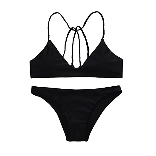 640b8a5474a26 Women Swimsuit Strappy Backless Tops Bikini Set Sexy Black High Waist  Bottom Bathing Suits (S