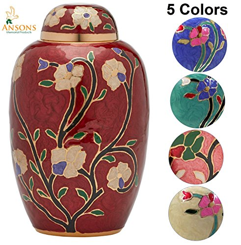 Clear Ash Finish - Ansons Urns Cremation Urn - Flower Funeral Urn for Human Ashes - Burial urn with lacquer finish - 100% Brass - Flora Red