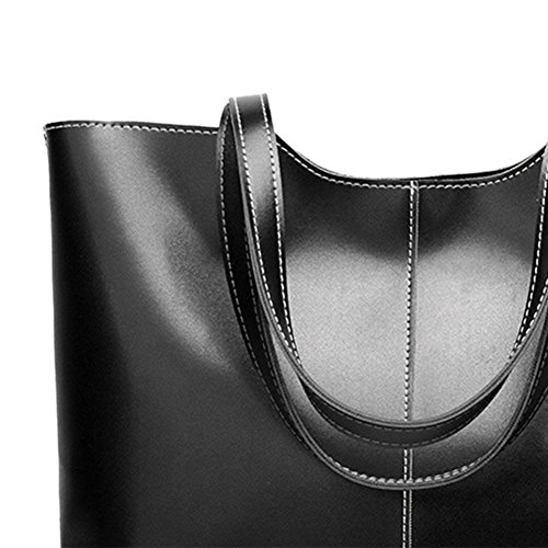 Totes Widewing Simple Oil Leather Big Capacity Shoulder Black Wax Handbag Women Shopping rvBxAq5wr