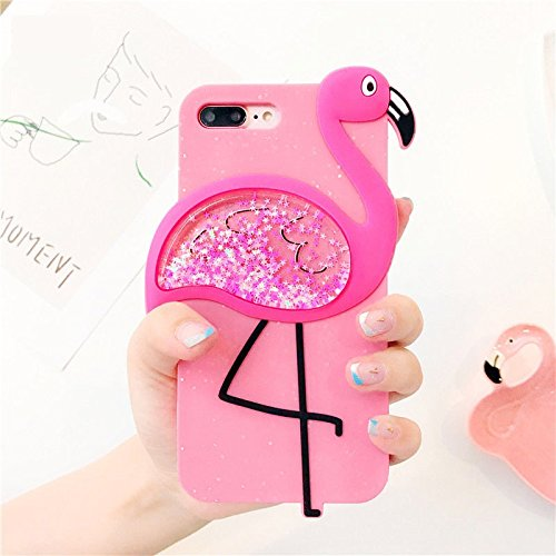 we3Dcell Flamingo luxury bling silicone soft protective waterfall stars Liquid Glitter Shiny 2 in 1 removable case 3D (pink, for iphone 6 / 6s) (Pink Imported)