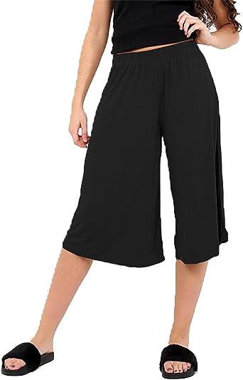 Women Ladies 3//4 Length Short Palazzo Trousers Causal Wide Leg Culottes Pants
