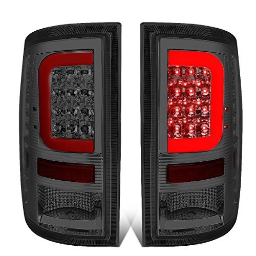 DNA Motoring TL-DRAM09-LED-RD3D-SM-G2 Pair Chrome Housing Smoked Lens Red 3D LED Tail Lights [09-17 Dodge ()