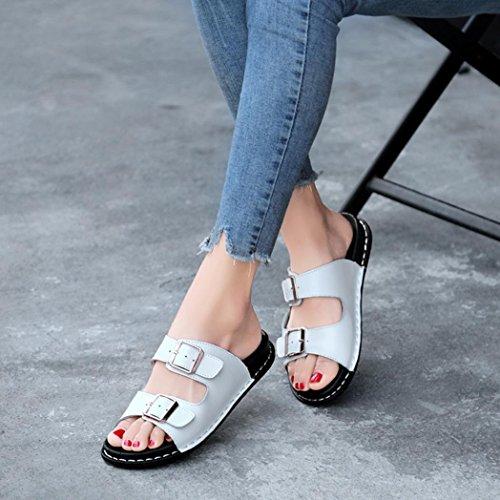 Ajustable Blanco para de Baño Sandalias Playa Chanclas QinMM Plano Y de Vestir Mujer de Zapatos Verano 4qZCwFxEC