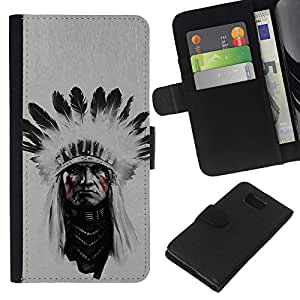 LECELL--Cuero de la tarjeta la carpeta del tirón Smartphone Slots Protección Holder For Samsung ALPHA G850 -- Jefe indio Hombre --