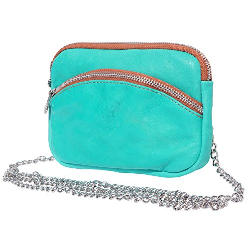 SMALL STRAP CHAIN SMALL Turquoise SILVER PURSE tan B335 WITH PURSE rRrUw