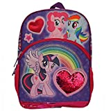Kids Warehouse My Little Pony 16' Backpack - Sequins Heart - Pinkie Pie, Twilight Sparkle and Rainbow Dash