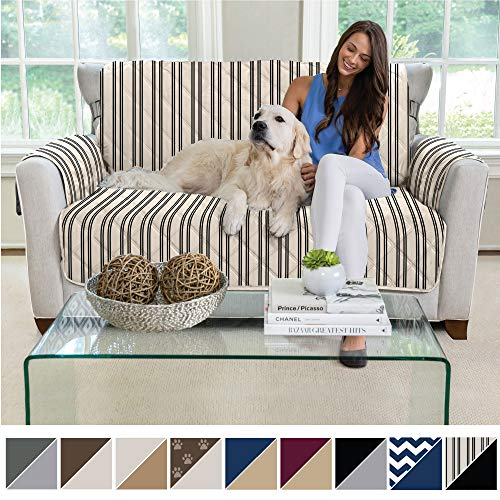 MIGHTY MONKEY Reversible Loveseat Slipcover, Seat Width to 54 Inch Furniture Protector, 2 Inch Elastic Strap, Washable Slip Cover for Loveseats, Protects from Kids, Love Seat, Stripes Beige Black