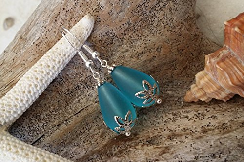Handmade in Hawaii, blue sea glass with flower base earrings, sterling silver hooks, Hawaiian Gift, FREE gift wrap, FREE gift message, FREE shipping
