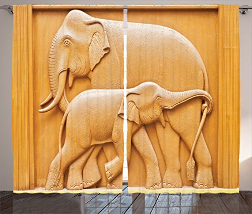 Elephant Wooden Artistic (Ambesonne Sculptures Decor Collection, Carved Wooden Mother and Child Baby Elephants African Animals Artistic Design, Living Room Bedroom Curtain 2 Panels Set, 108 X 90 Inches, Ivory Cream)