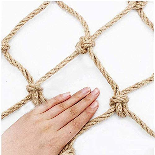 RZM Decor Net Anti-Fall Net ,Safety Net Child Protection Net Hemp Rope Net Truck Cargo Trailer Nets,Customizable Child Safety Netting for Balcony Color : Beige-10cm, Size : 1x1m