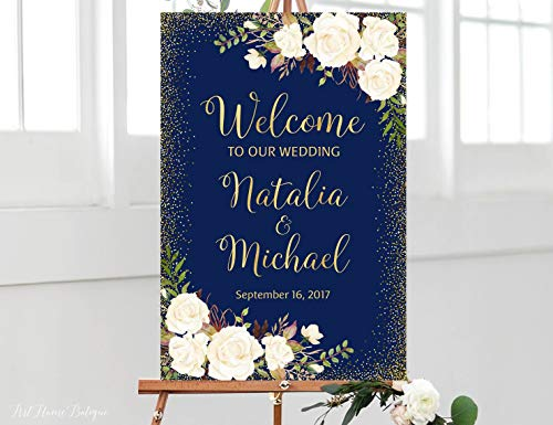 Dozili Wedding Welcome Sign Navy Welcome Wedding Sign Welcome to Our Wedding Sign White Flowers Printable Sign Navy Gold W ()