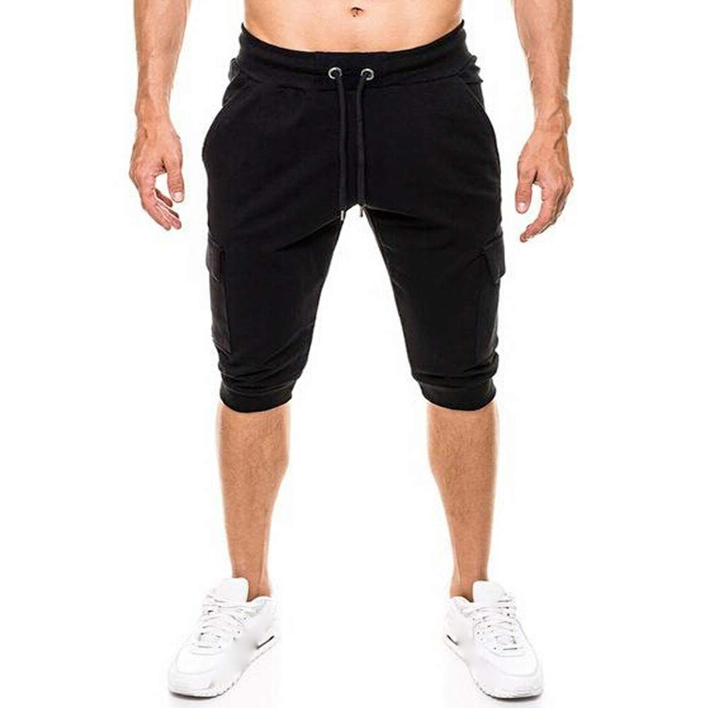 Spbamboo Mens Casual Shorts Pockets Elastic Waist Solid Slim Fit Sport Pants by Spbamboo (Image #2)