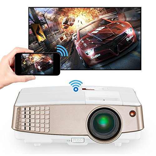 LCD Android Wireless Screen Mirror Projector Airplay HDMI USB TV AV Audio Out Portable LED Video Projector 2600 Lumens for Home Cinema Indoor Outdoor Movie Theater Multimedia Mini Smart TV Proyectors