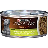 Purina Pro Plan Wet Dog Food, Savor, Adult Shredded Turkey, Peas & Brown Rice Entre, 5.5-Ounce Can, Pack of 24