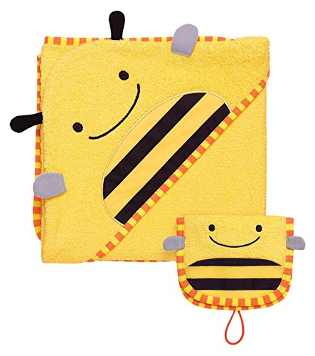 Skip Hop Zoo Baby Infant and Toddler Soft Cotton Hooded Bath Towel and Mitt Washcloth Set, Two Pieces, Multi, Brooklyn Bee (Mitt Towel Hooded)