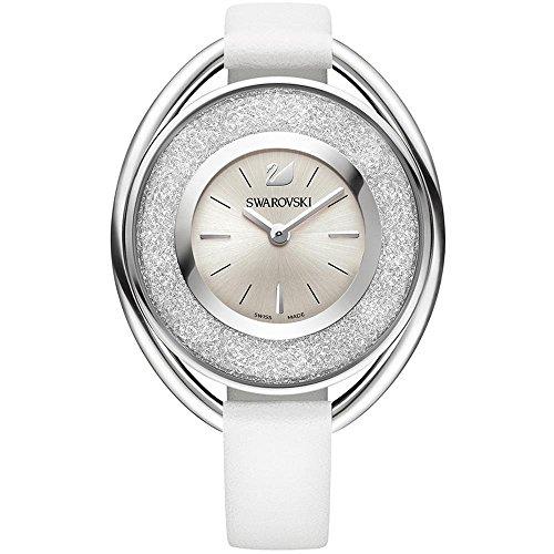 - Ladies' Swarovski Crystal Crystalline Oval White Leather Watch 5158548
