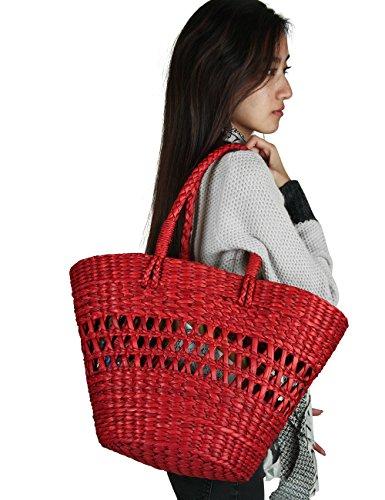 (Straw Market Large Picnic Shopping Shoulder Bag Red Handbag Organic Woven Beach Tote Casual)