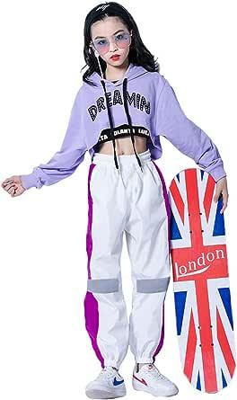 3Pcs Girls Hip Hop Dance Costume Niños Street Dance Clothes Set Sudadera Corta con Capucha, Camiseta sin Mangas, Pantalones Reflectantes