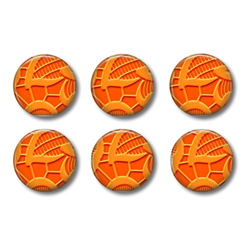 Look Button (Pinback Buttons or Magnets Lace Look Orange Set of Six 1 Inch)