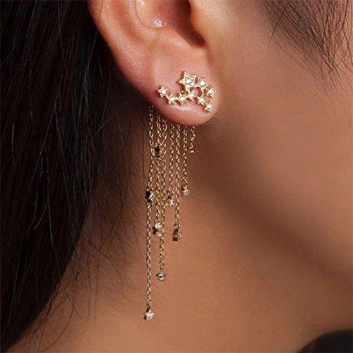 Dangling Quartz Earrings (Wensltd Clearance! 1 Pair Womens Girls Shooting star Rhinestone Long Tassels Drop Hook Dangle Earrings Gold Silver (Gold))