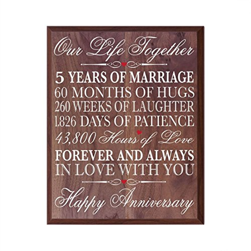 Five Year Wedding Anniversary Gift For Husband: LifeSong Milestones 5th Anniversary Gifts Decorations
