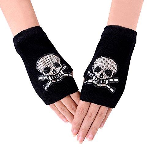 JISEN Lady Black Rhinestone Pattern Knitted Stretchy Soft Wrist Arm Fingerless Warm Short Gloves Skull