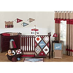 All Star Sports Red, Blue and Brown Baby Boy Bedding 11pc Crib Set without bumper