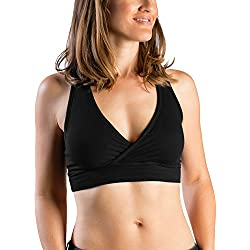 Kindred Bravely French Terry Racerback Nursing Sleep Bra for Maternity/Breastfeeding (Medium-Busty, Black)