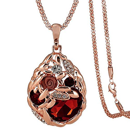 Necklace Crystal Red Gold (Jude Jewelers Long Sweater Chain Pendant Necklace Rose Gold Crystal (Rose Gold-Red Stone))