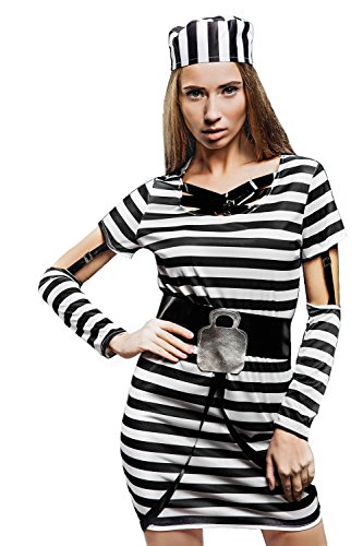 Adult Women Prisoner Inmate Convict Jailbird Costume Role Play Cosplay Dress Up (Small/Medium, Black, White)