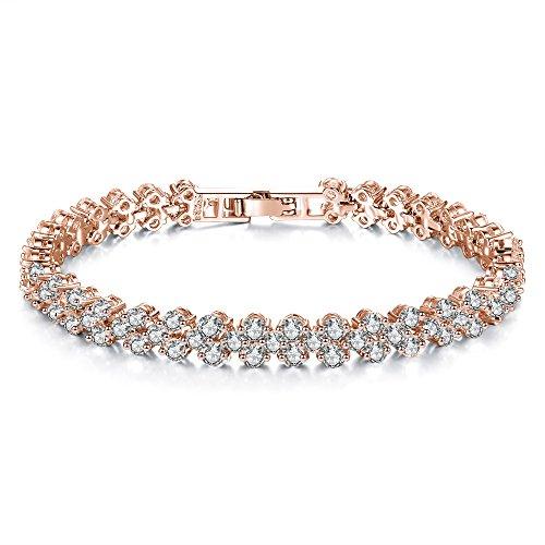 Cyntan Fashion Crystal Tennis Bracelet Cuff For Women Wedding Jewelry Rose Gold Tone 17Cm ()
