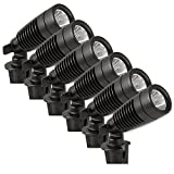 Moonrays 95536 Powered Landscape Spotlights with Remote Solar Panel, 6 Pack Kit, Black